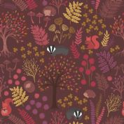 Lewis & Irene - Under The Oak Tree - 6893 - Trees Leaves & Animals, Brown - A393.3 - Cotton Fabric